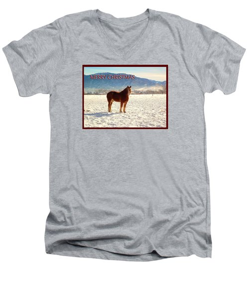 Men's V-Neck T-Shirt featuring the photograph Belgium Draft Horse Christmas by Deborah Moen