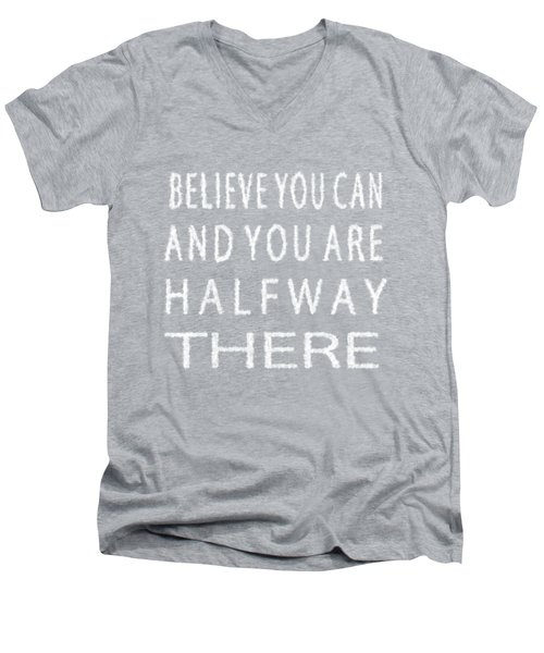 Men's V-Neck T-Shirt featuring the painting Believe You Can Cloud Skywriting Inspiring Quote by Georgeta Blanaru