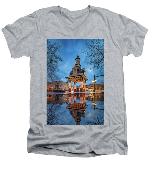 Bell Tower  In Beaver  Men's V-Neck T-Shirt by Emmanuel Panagiotakis