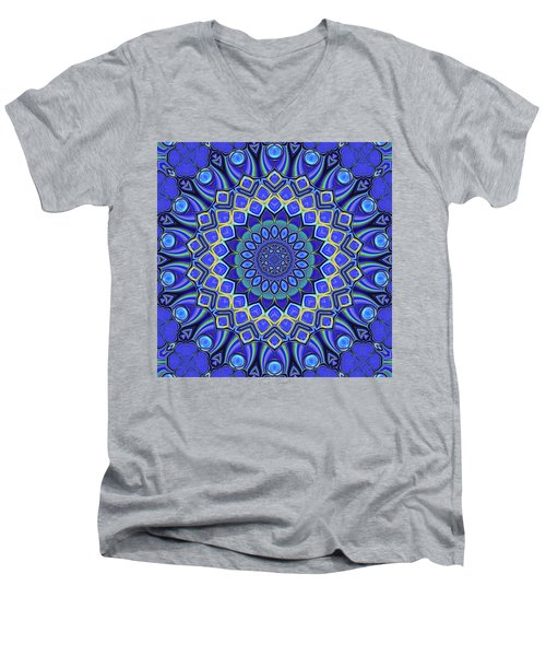 Men's V-Neck T-Shirt featuring the digital art Bella - Blue by Wendy J St Christopher