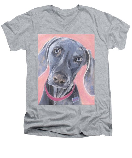 Men's V-Neck T-Shirt featuring the painting Bella by Jamie Frier