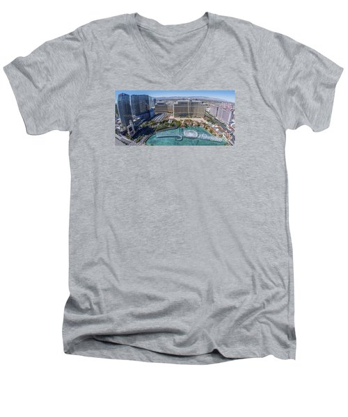 Men's V-Neck T-Shirt featuring the photograph Bellagio Fountains In The Afternoon by Aloha Art