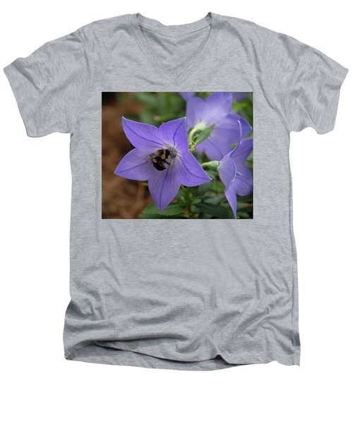 Men's V-Neck T-Shirt featuring the photograph Bellflower And Bee  by Marie Hicks