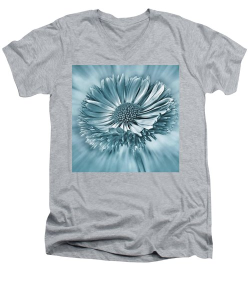 Bellis In Cyan  #flower #flowers Men's V-Neck T-Shirt