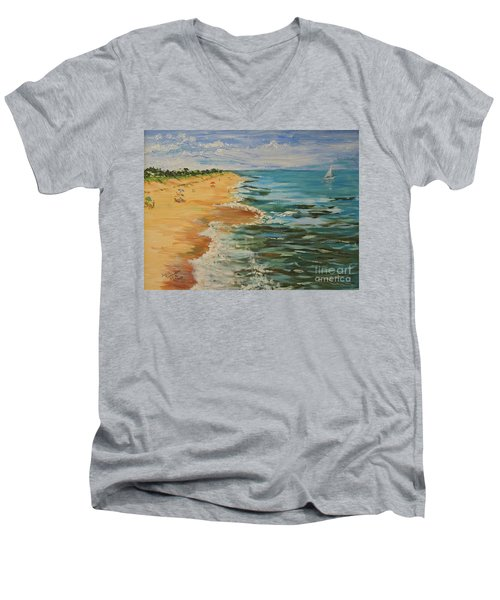 Beloved Beach - Sold Men's V-Neck T-Shirt by Judith Espinoza