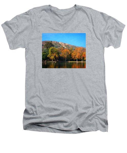Men's V-Neck T-Shirt featuring the photograph Below Puma Ridge by Timothy Bulone