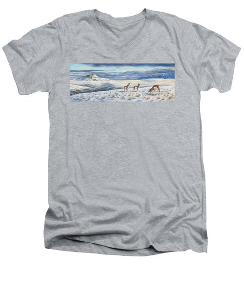 Men's V-Neck T-Shirt featuring the painting Belt Butte Winter by Kim Lockman