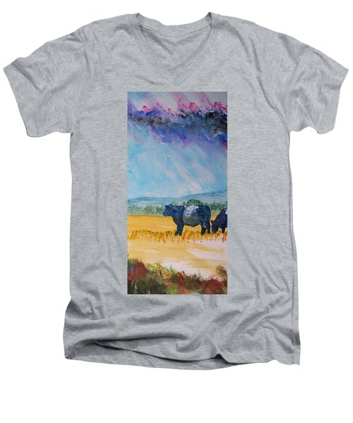 Belted Galloway Cows Narrow Painting Men's V-Neck T-Shirt