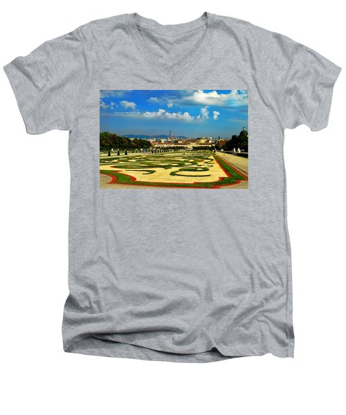 Men's V-Neck T-Shirt featuring the photograph Belvedere Palace Gardens by Mariola Bitner