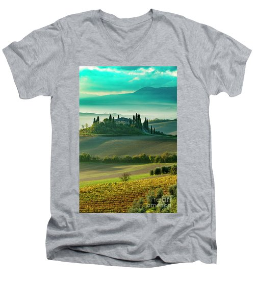 Men's V-Neck T-Shirt featuring the photograph Belvedere - Tuscany II by Brian Jannsen