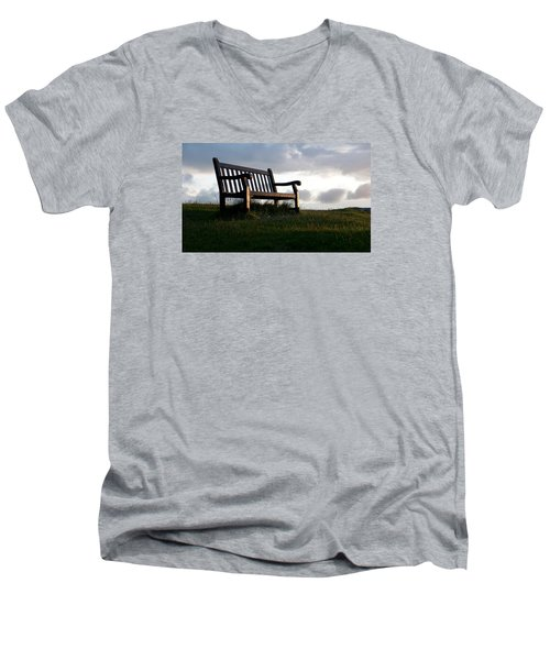 Bench At Sunset Men's V-Neck T-Shirt