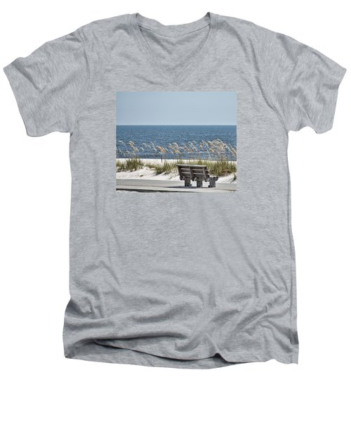 Bench At The Beach Men's V-Neck T-Shirt