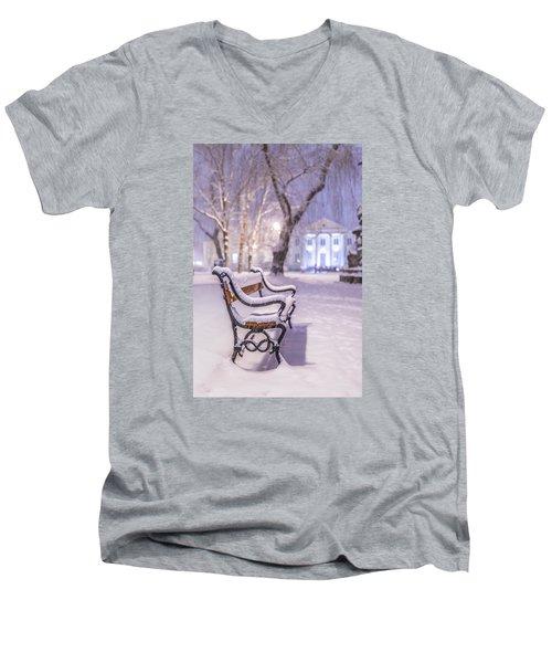 Bench Men's V-Neck T-Shirt by Jaroslaw Grudzinski