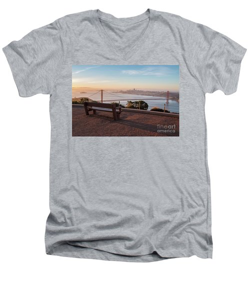 Bench Overlooking Downtown San Francisco And The Golden Gate Bri Men's V-Neck T-Shirt
