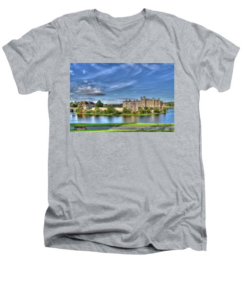 Bench View Of Leeds Castle Men's V-Neck T-Shirt