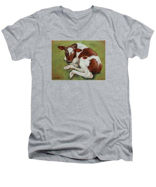 Bendy New Calf Men's V-Neck T-Shirt by Margaret Stockdale