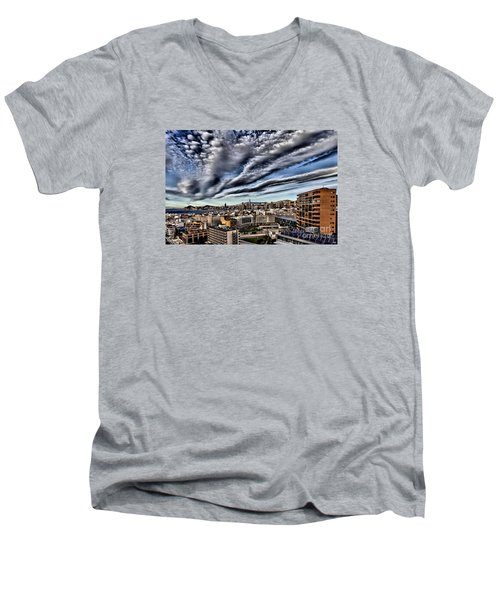 Benidorm Old Town Aerial View Men's V-Neck T-Shirt by Mick Flynn