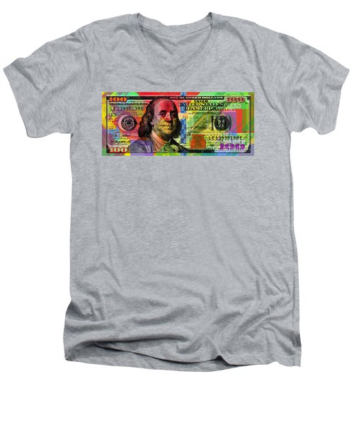 Benjamin Franklin $100 Bill - Full Size Men's V-Neck T-Shirt