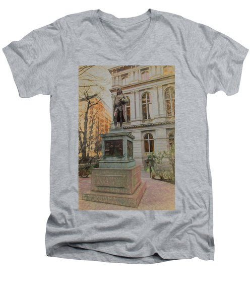 Benjamin Franklin Sketch Men's V-Neck T-Shirt