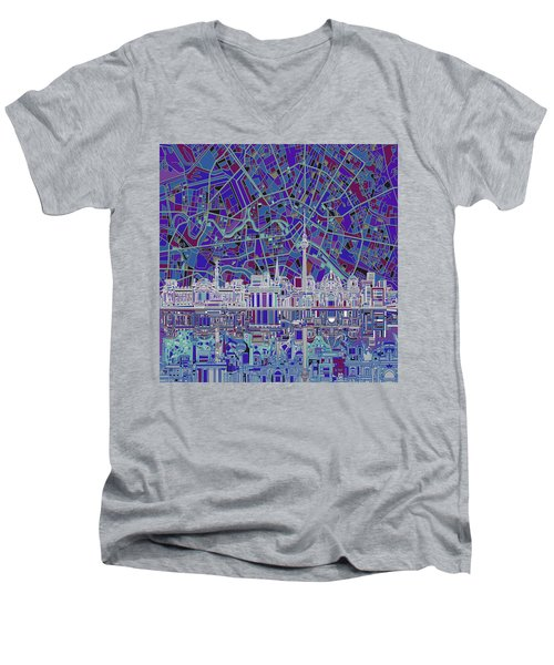 Berlin City Skyline Abstract 3 Men's V-Neck T-Shirt by Bekim Art