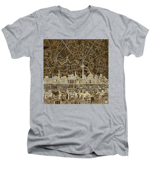 Berlin City Skyline Abstract Brown Men's V-Neck T-Shirt by Bekim Art