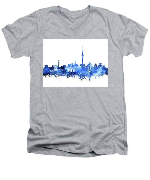 Berlin City Skyline Blue Men's V-Neck T-Shirt by Bekim Art