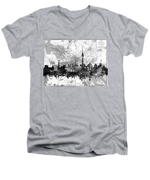 Berlin City Skyline Vintage 2 Men's V-Neck T-Shirt by Bekim Art