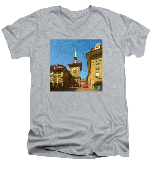 Bern Clock Tower Men's V-Neck T-Shirt