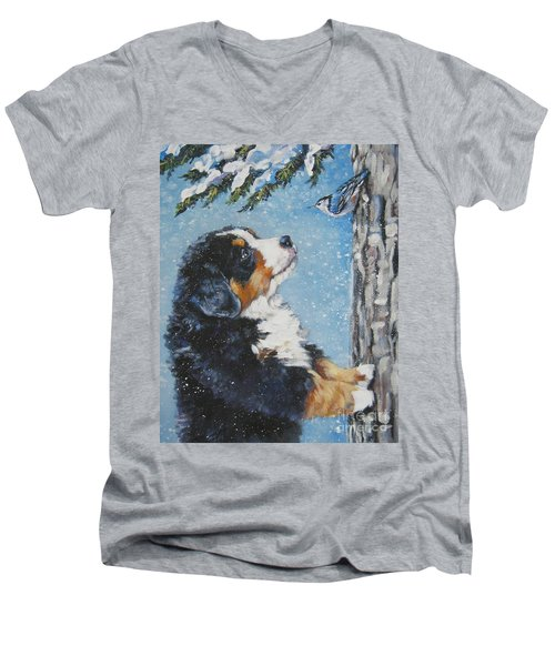 bernese Mountain Dog puppy and nuthatch Men's V-Neck T-Shirt