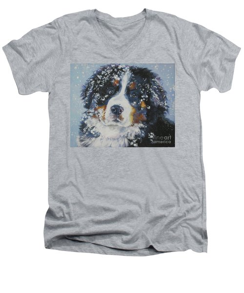 Bernese Mountain Dog Puppy Men's V-Neck T-Shirt