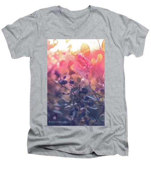 Berries In The Sun Men's V-Neck T-Shirt by Stefanie Silva