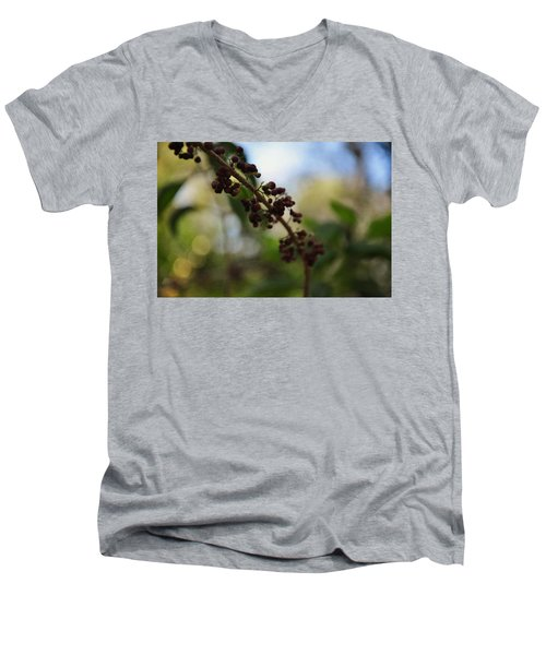 Men's V-Neck T-Shirt featuring the photograph Berry Branch by Artists With Autism Inc