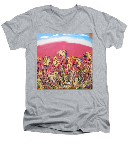 Berry Pink Flower Garden Men's V-Neck T-Shirt