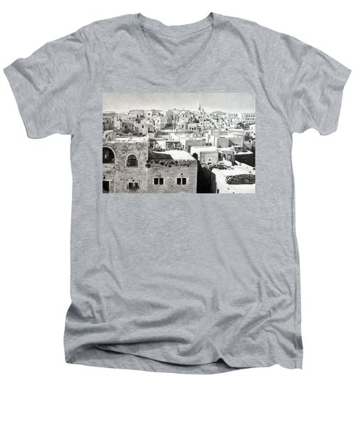 Bethlehem Old Town Men's V-Neck T-Shirt by Munir Alawi