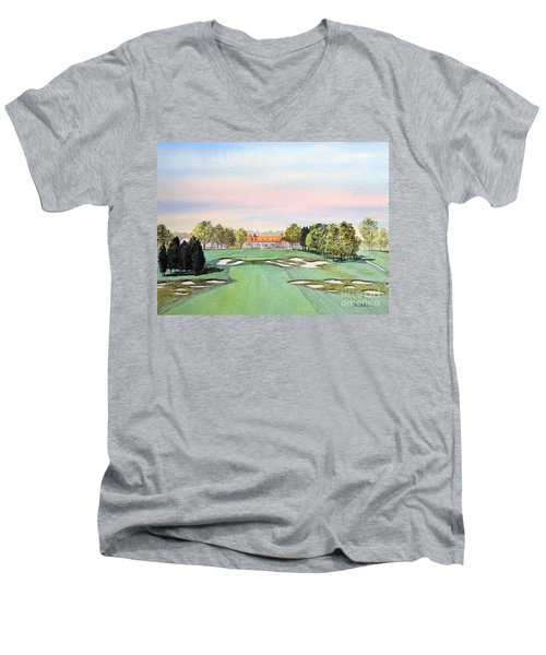 Men's V-Neck T-Shirt featuring the painting Bethpage State Park Golf Course 18th Hole by Bill Holkham