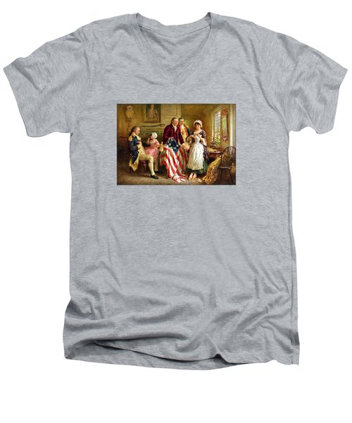 Betsy Ross And General George Washington Men's V-Neck T-Shirt