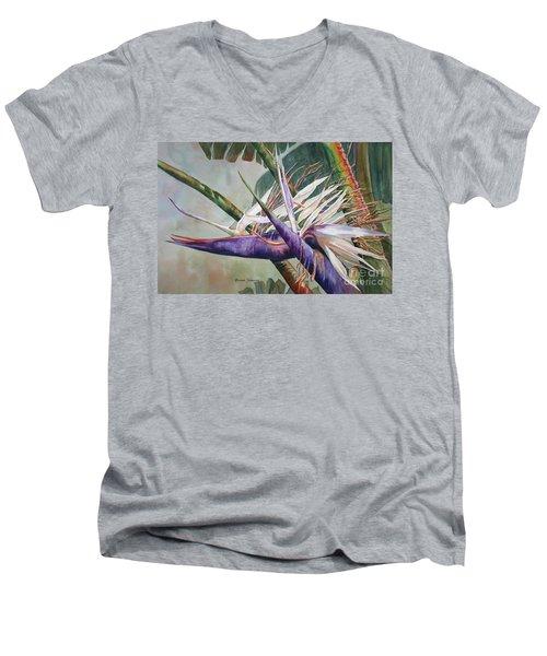Betty's Bird - Bird Of Paradise Men's V-Neck T-Shirt by Roxanne Tobaison
