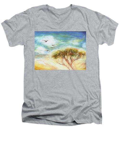 Men's V-Neck T-Shirt featuring the drawing Betty's Tree by Denise Fulmer