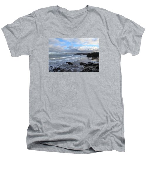 Men's V-Neck T-Shirt featuring the photograph Between Cornish Storms 2 by Nicholas Burningham