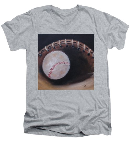 Men's V-Neck T-Shirt featuring the painting Between Innings by Judith Rhue