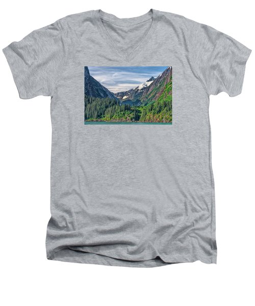 Men's V-Neck T-Shirt featuring the photograph Between The Peaks by Lewis Mann
