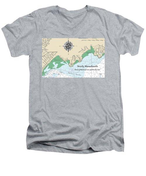 Beverly Cove Nautical Map Men's V-Neck T-Shirt