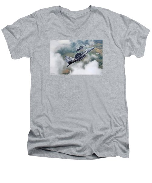 Beware Of Bulldogs Men's V-Neck T-Shirt by Peter Chilelli