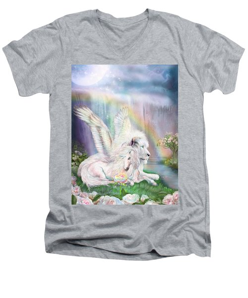 Men's V-Neck T-Shirt featuring the mixed media Beyond Fantasy by Carol Cavalaris