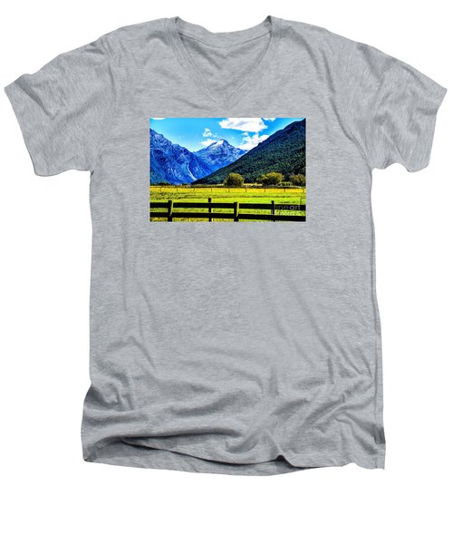 Men's V-Neck T-Shirt featuring the photograph Beyond The Fence by Rick Bragan