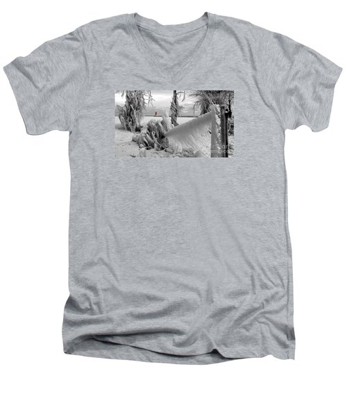 Men's V-Neck T-Shirt featuring the photograph Beyond The Icy Gate - Menominee North Pier Lighthouse by Mark J Seefeldt