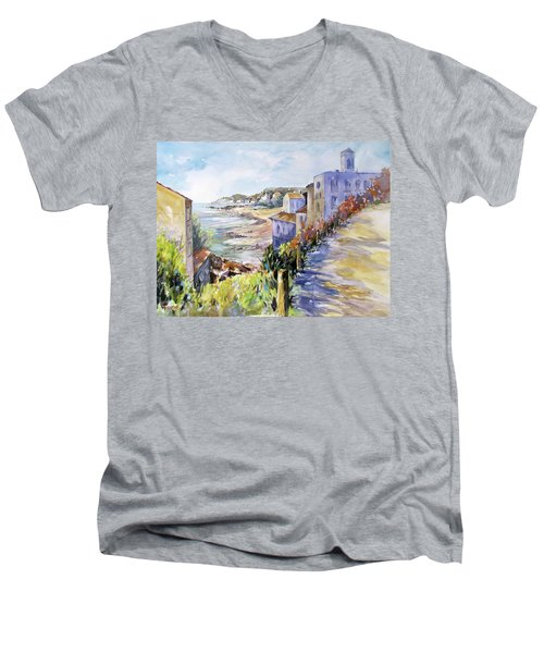 Beyond The Point Men's V-Neck T-Shirt by Rae Andrews
