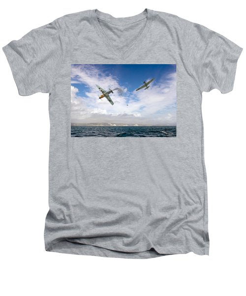 Bf109 Down In The Channel Men's V-Neck T-Shirt by Gary Eason