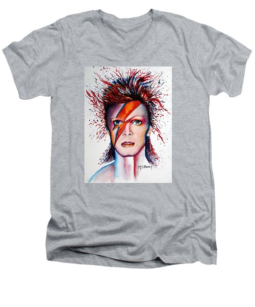 Men's V-Neck T-Shirt featuring the painting Bi Bi Bowie by Maria Barry