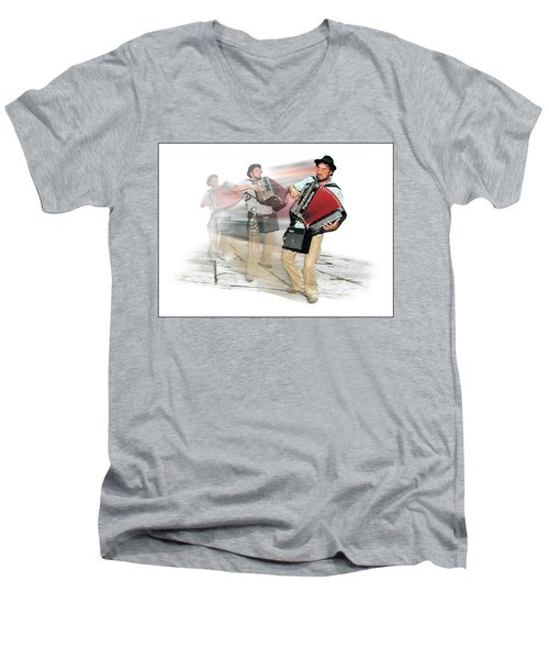Bi Location Polka Men's V-Neck T-Shirt